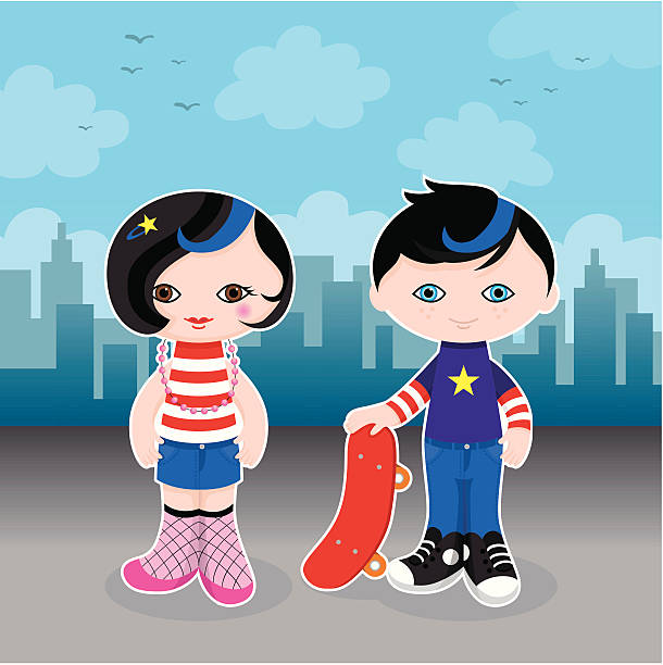 Cute city kids vector art illustration