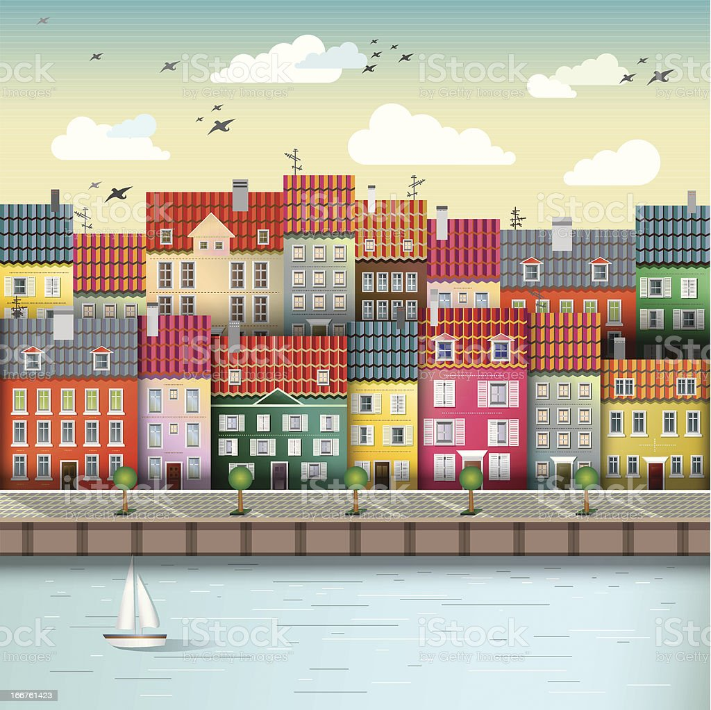 Cute city on the river royalty-free cute city on the river stock vector art & more images of architecture