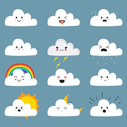 Schattig Cloud Emojis Vector Collectie Stockvectorkunst en meer beelden van Bliksem
