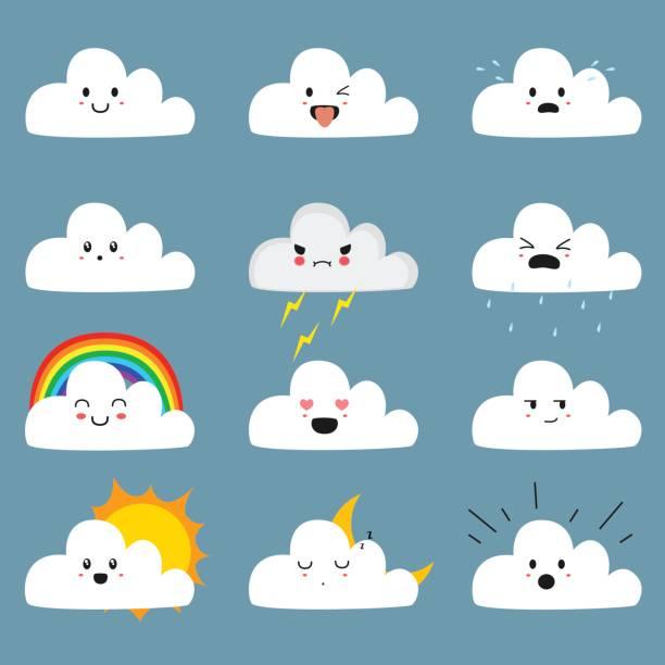 stockillustraties, clipart, cartoons en iconen met schattig cloud emojis vector collectie - regen zon