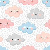 cloud texture background with rain drop, repeating vector illustration