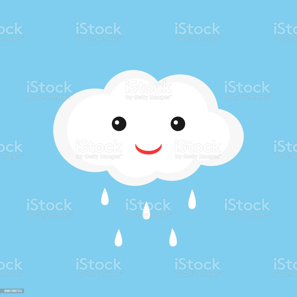 Cute Cloud With Smiley Face And Raindrops Stock Vector Art More