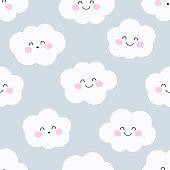 Cute clouds. Seamless vector pattern