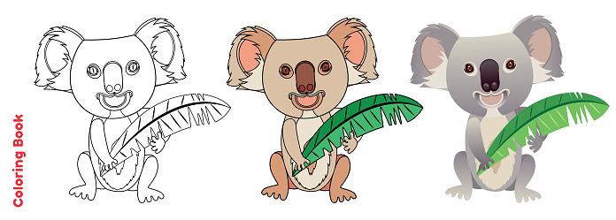 Cute Coala, coloring book page