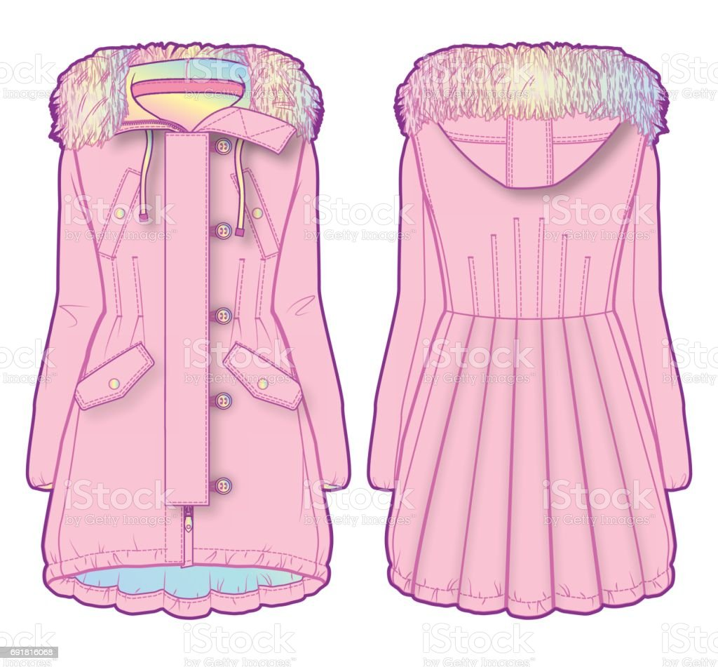Cute coat with multicolored lining vector art illustration