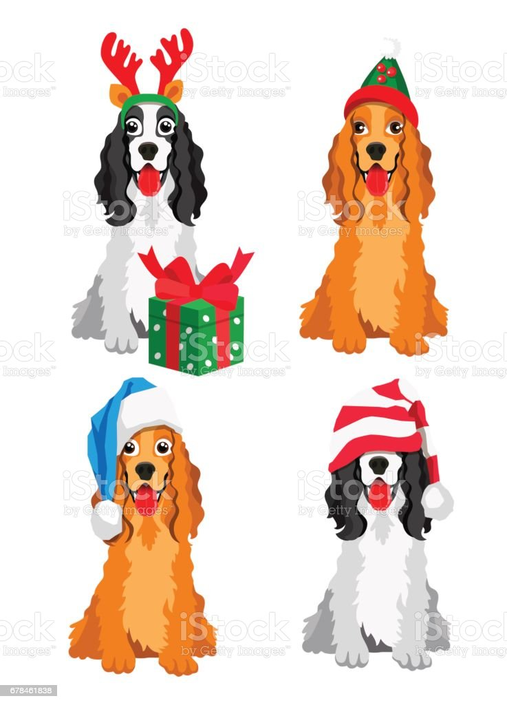 Cute Cocker Spaniel in a New Year hat royalty-free cute cocker spaniel in a new year hat stock vector art & more images of 2018