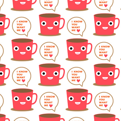 cute coffee cup  pattern background design  for art and   print  vector eps.10