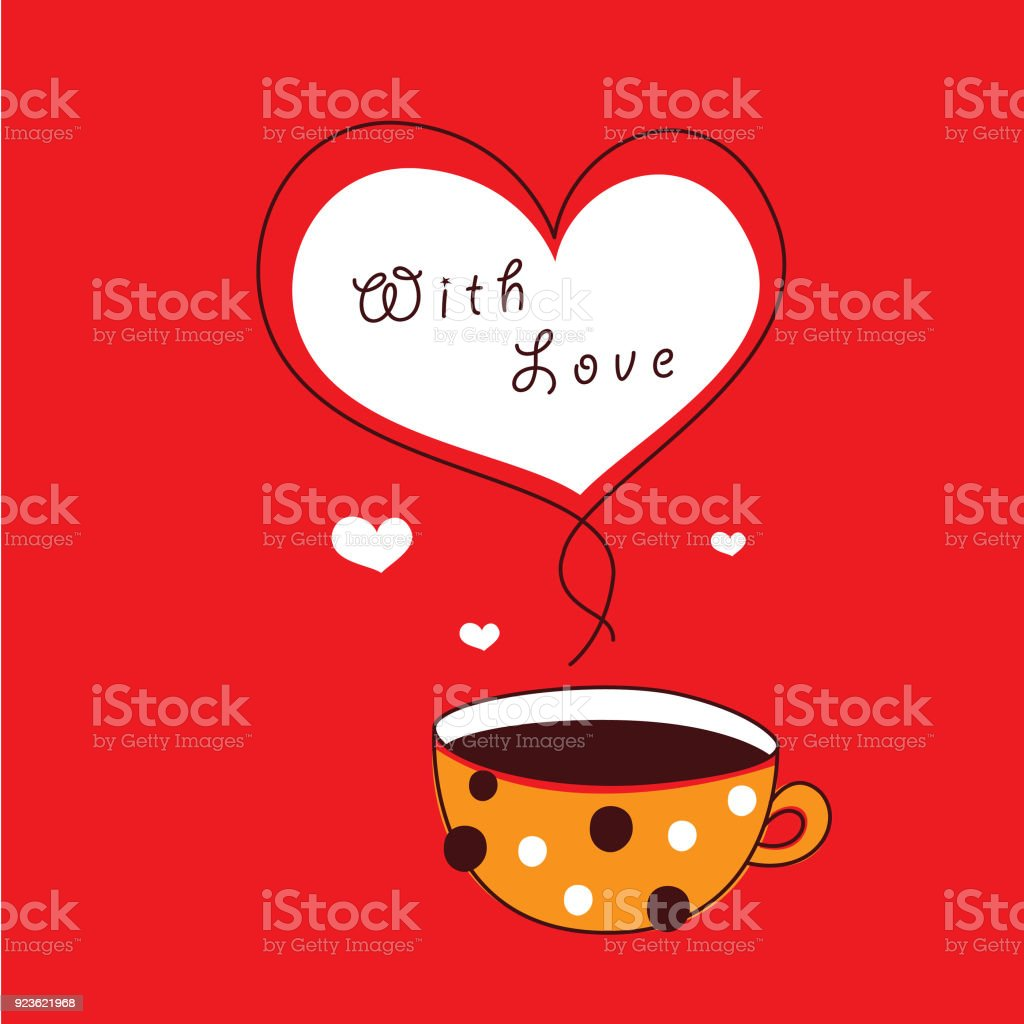Cute Coffee Cup Valentine Greeting Vector Stock Vector Art More