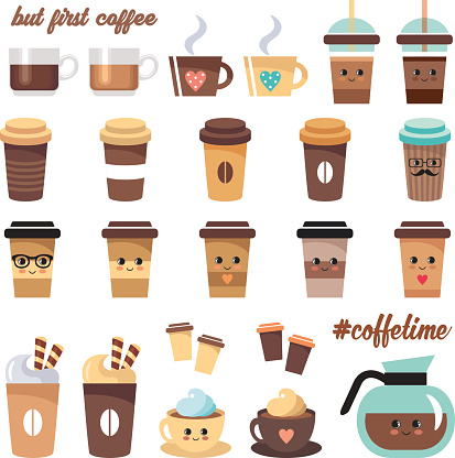 Cute coffee icons set