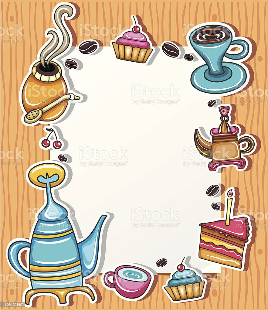 Cute coffee paper frame royalty-free stock vector art