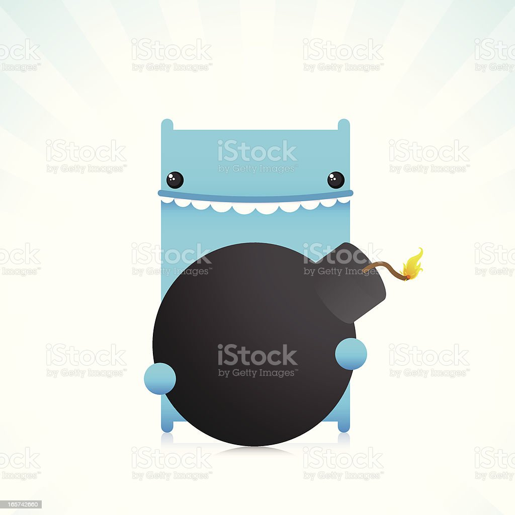 Cute Cold Blood Character Holding A Old School Bomb royalty-free stock vector art