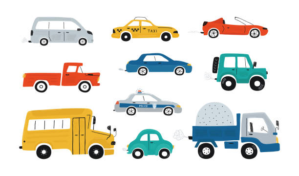 Cute collection colorful cars isolated on a white background. Icons in hand drawn style for design of children's rooms, clothing, textiles. Vector illustration Cute collection colorful cars isolated on a white background. Icons in hand drawn style for design of children's rooms, clothing, textiles. Vector illustration land vehicle stock illustrations