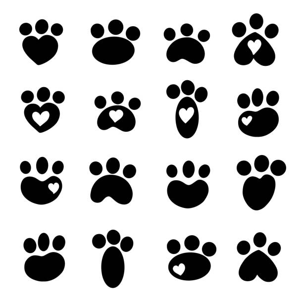 A Cute Collection of Animal Silhouette Prints Like Cut or Dog Cartoon Illustration Vector Style, Some With Hearts vector art illustration