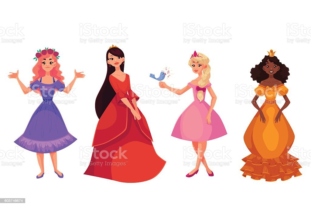 Cute collection of beautiful princesses vector art illustration