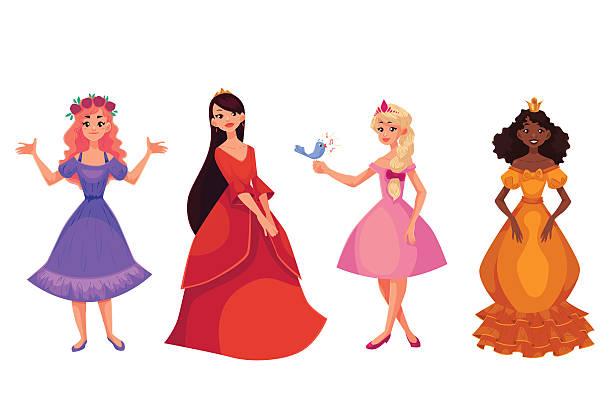 illustrazioni stock, clip art, cartoni animati e icone di tendenza di carina raccolta di belle principesse - principessa
