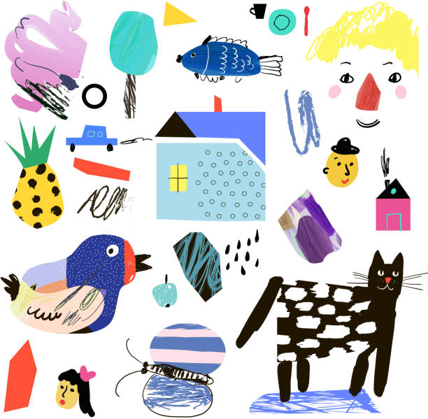 cute collection of different shapes in collage cartoon style - kindersprüche stock-grafiken, -clipart, -cartoons und -symbole