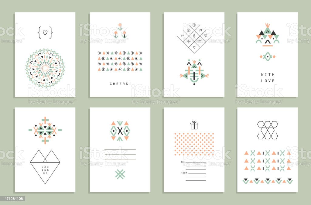Cute Collection of Ethnic Cards and Invitations. vector art illustration