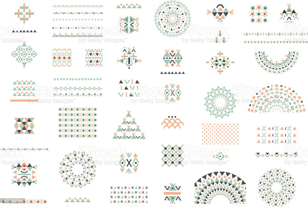 Cute Collection of Ethnic patterns. Geometric and aztec decor elements. vector art illustration