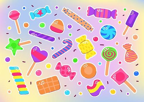 Cute colored candy, Chocolate, Caramel, Lollipops set