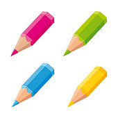 Cute colored pencils. Vector icons set.