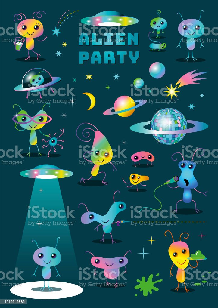 Cute Colorful Alien Party Cartoon Characters Set Clipart on Dark Background - Royalty-free Alien stock vector