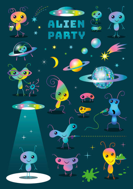 Cute Colorful Alien Party Cartoon Characters Set Clipart on Dark Background vector art illustration