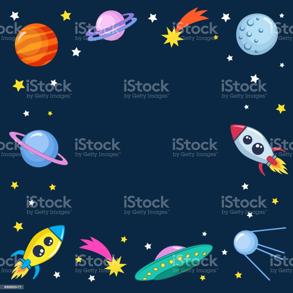 cute colorful background template with space mars stars planets ufo