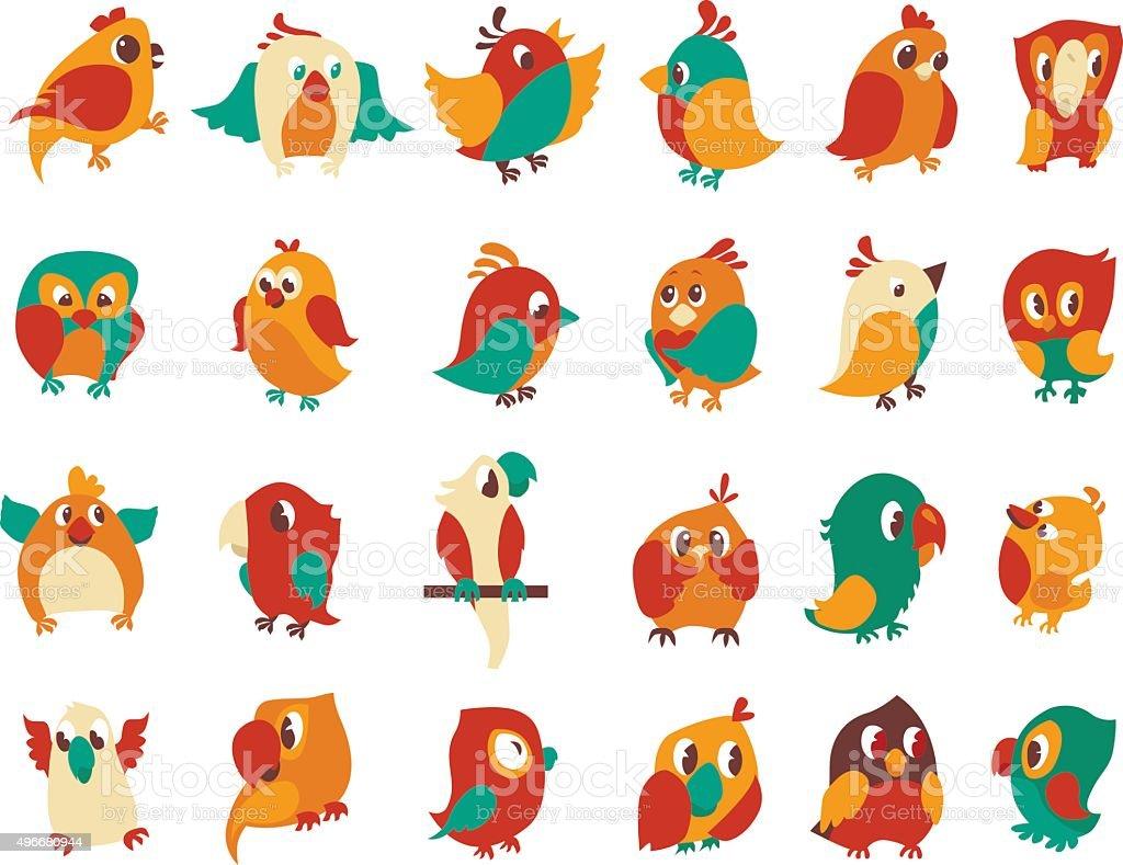 かわいいカラフルな鳥をベクトルしますカットイラスト設定されます