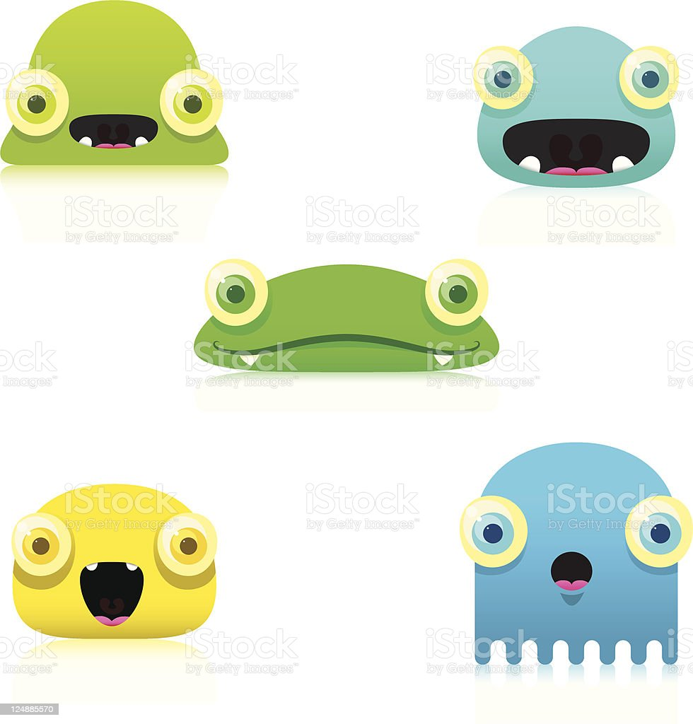 Cute Colorful Blob Characters Vector royalty-free stock vector art