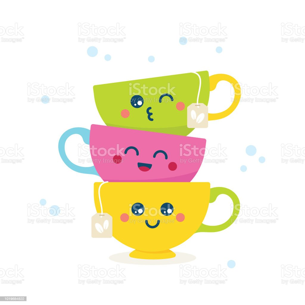 Cute croissant, cake and coffee cup ... | Stock Vector ...