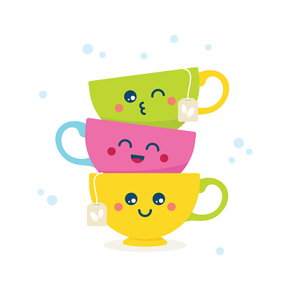 Cute colorful cartoon tea cups with funny faces