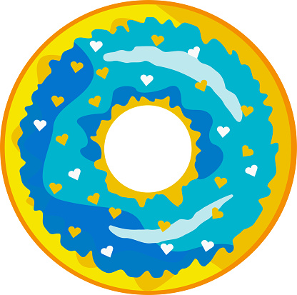 A cute, colorful donut with blue icing and multi-colored powder.