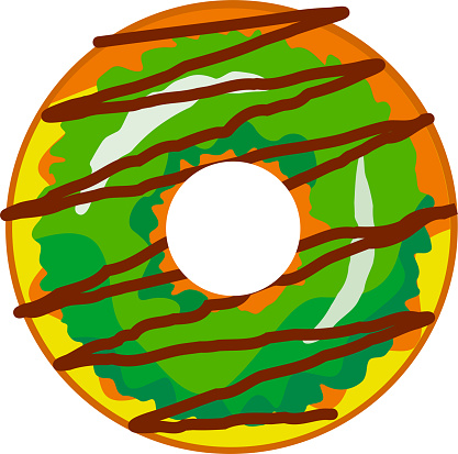 A cute, colorful donut with green icing and chocolate with multi-colored powder.