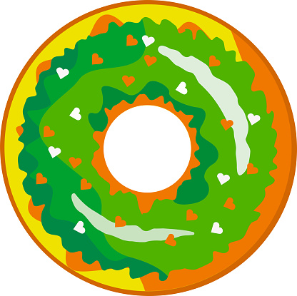 A cute, colorful donut with green icing and multi-colored powder.