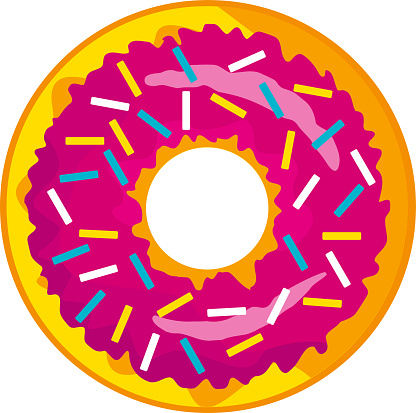 A cute, colorful donut with pink icing and colored powder in the form of sweet sticks.