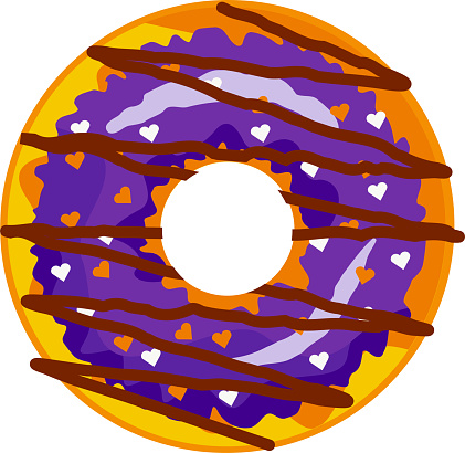 A cute, colorful donut with purple icing and chocolate.
