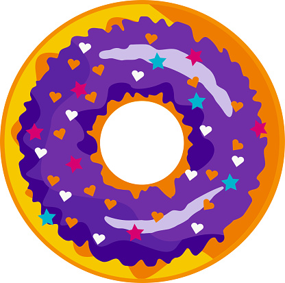 A cute, colorful donut with Purple icing and multi-colored powder.