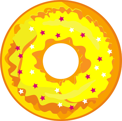 Cute, colorful donut with yellow glaze and multi-colored powder.