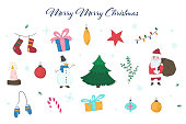 Cute colorful collection of doodle light outline Christmas elements including fir, Snowman, Santa Claus, giftboxes, mittens, stocking, balls for new year design, labels, coloring books, kids apps