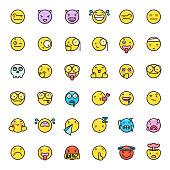 Cute colorful emoticons set 3