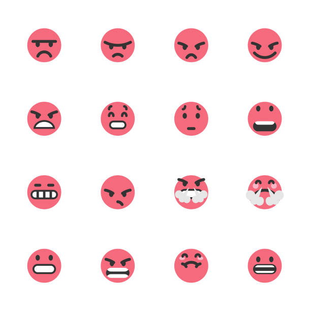 Cute colorful emoticons set Vector illustration of a set of cute, colorful and flat design emoticons ideal for design, social media and mobile apps projects infamous stock illustrations