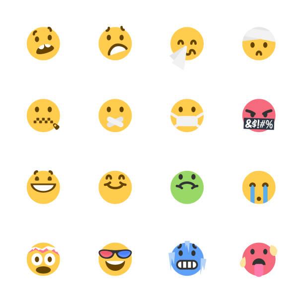 cute colorful emoticons set - emoji stock illustrations, clip art, cartoons, & icons