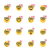 Vector illustration of a set of cute, colorful and flat design emoticons ideal for design, social media and mobile apps projects