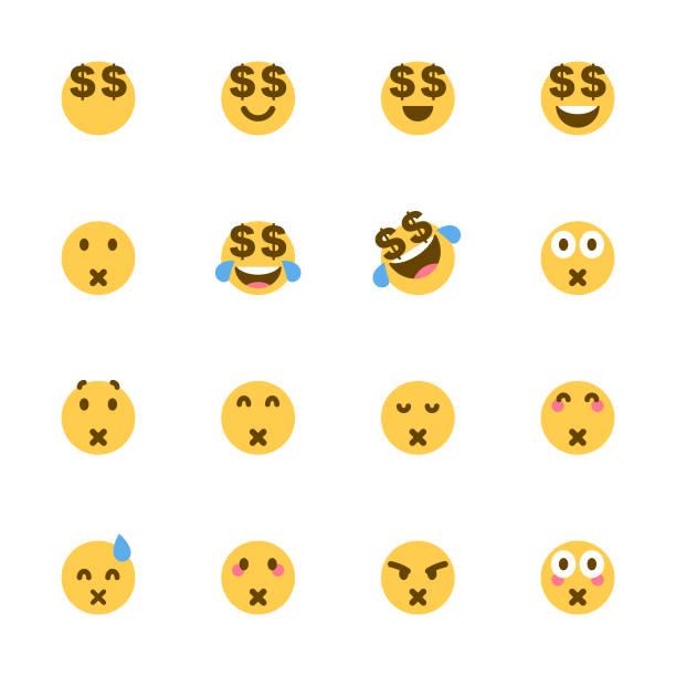 ilustrações de stock, clip art, desenhos animados e ícones de cute colorful emoticons set - enjoying wealthy life