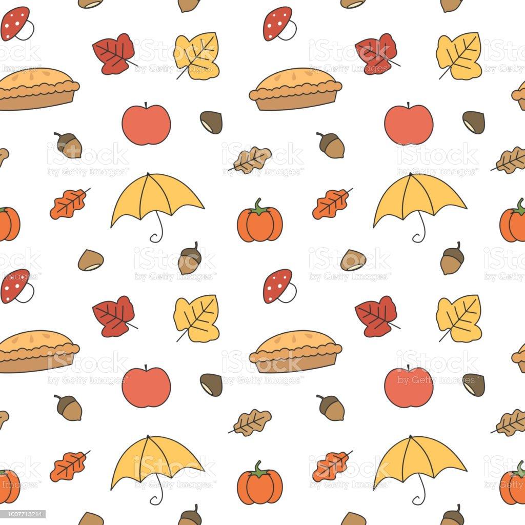 かわいいカラフルな秋秋コレクション シームレスなベクトル パターン背景