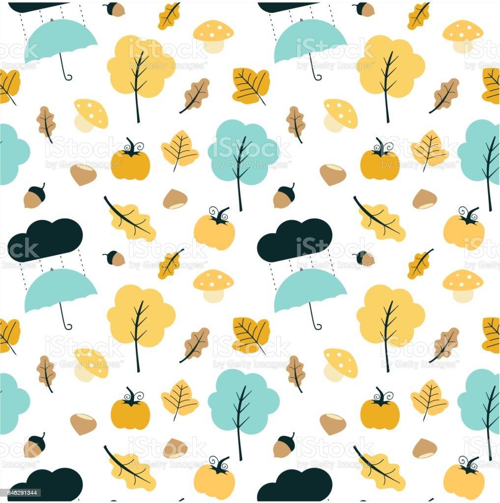 かわいいカラフルな秋秋ミックス シームレスなベクトル パターン背景