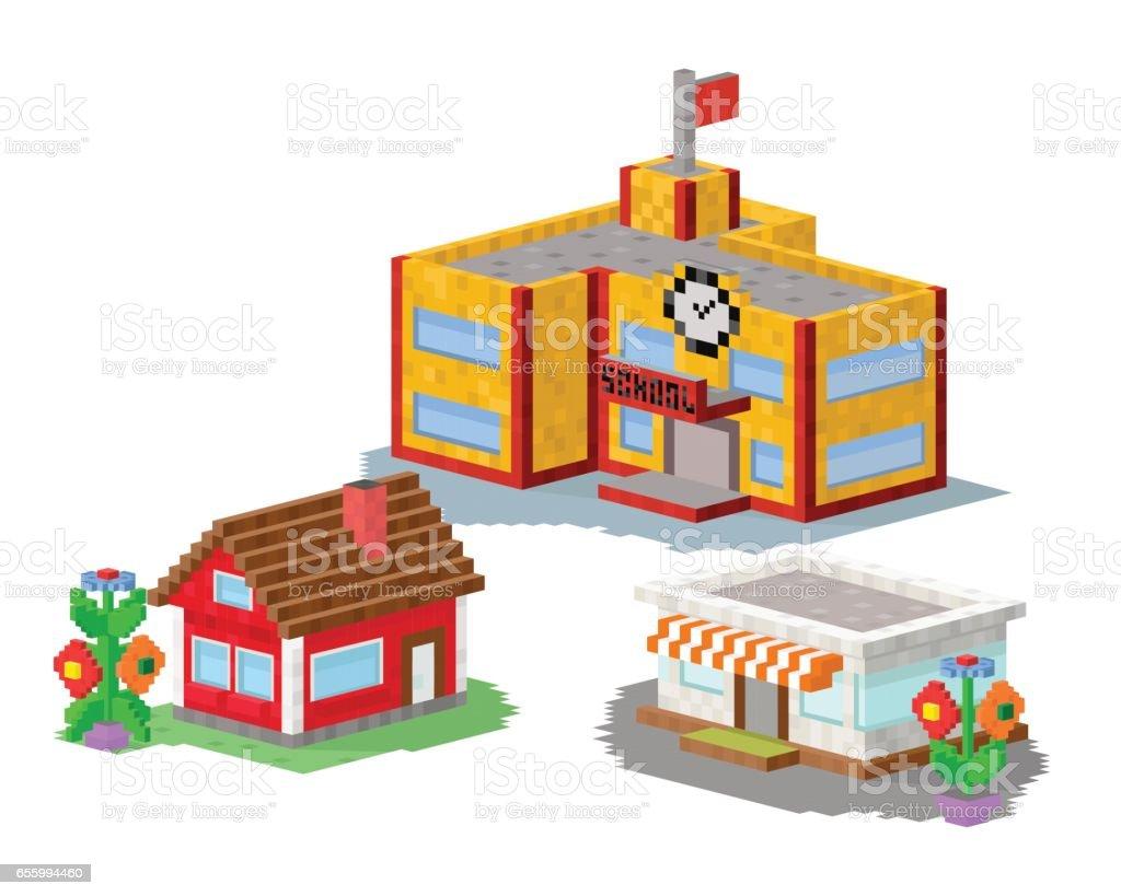 House Construction Clip Art : Cute colorful flat style house village pixel art real estate