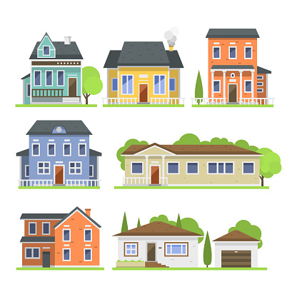 Cute colorful flat style house village symbol real estate cottage and home design residential colorful building construction vector illustration clipart