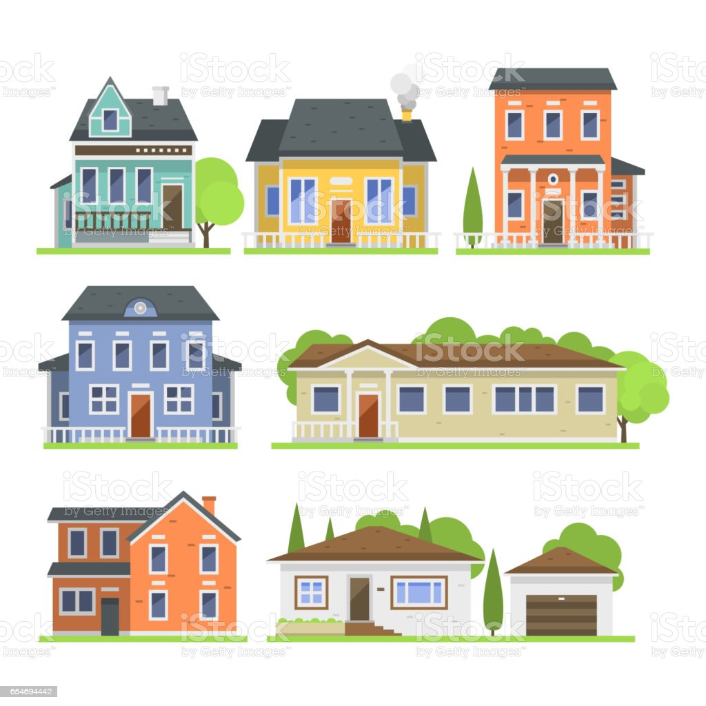 Cute colorful flat style house village symbol real estate cottage and home design residential colorful building construction vector illustration vector art illustration