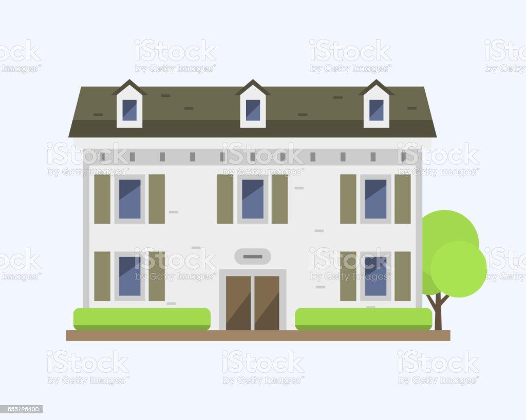 Modèle Plat Coloré Mignon Maison Village Symbole Immobilier Chalet ...